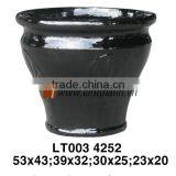 Vietnam Glossy Decorative Well Design Dark Porcelain Flower Pot