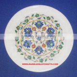 Marble inlay Decorative Plate With Semi Precious Stone Work