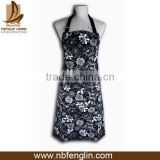 oem black color with white printed cotton canvas kitchen apron