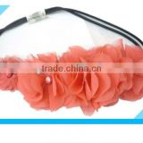 Chic elastic pink chiffon flower adult stretchy headband/bridal elastic headband/hair accessory