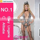 Hot sale and fashionablen new style wholesale silver gray spandex and nylon sexy bunny costumesexy rabbit costume