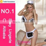 Hot sale and fashionablen new style sunspice lingerie wholesale sexy maid picture costume