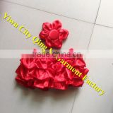 Holiday cute wholesale baby cotton red bloomer floral ruffled summer panties bloomers posh diaper with red headband