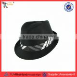 2016 hot selling man felt wool fedora hat with ribbon feather