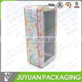 tin box with transparent window/ hinged window tin box with lid