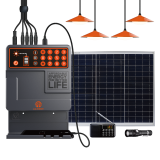 PYAGo Pay As You Go Solar Home Power Systems with 4 LED Bulbs Radio Solar Mobile Phone Charging