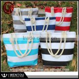 reusable canvas shopping bag stripe canvas beach tote bag wholesale                                                                         Quality Choice