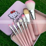 Hot Sell 7 Pcs cute pink Hello Kitty Foundation Makeup Brushes,Factory Supply makeup brush set