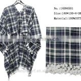 100% cotton Scotland Plaid Pashmina w Tassel Ball Fashion Woman Shawls Spring Model Wraps
