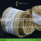 6m Natural Jute Burlap Hessian Ribbon with Lace Trims Tape Rustic Wedding Decoration
