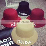 Letter MEIDA Printed Fedora Hats Wholesale Wool Dome Hat Korean Bucket Hat