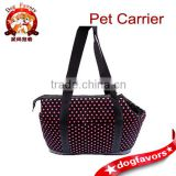 Trade Assurance Pink Polka Dots Dog Carrier Dog Tote Pet Canvas Hand Carrier Small Dog Bag