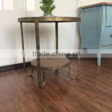 Antique oak and metal round tray French industrial side table