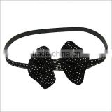 Nickel And Lead Free Black Bow With Small Metal Stud Accent Leather Belt