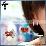 2014 new fashion ladies stud k gold earring designs double-dimensional bow tie in zinc alloy jewelry E00124