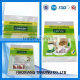 compound plastic chemical self-adhesive sachets with header,shoelace package pouch with adhesive