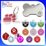 Custom Engraved Enemal Pet Id Tag Dog Pawprint Engraved Pet Charms Collar Id Dog Tag Personalised Engraved Paw Print Dog Tag                                                                         Quality Choice