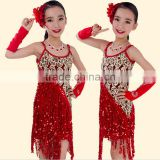 2016 High quality sexy latin dance dress children dancing performance costumes for firls