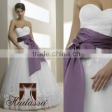 French designe Ball Gown Wedding Dress / Gown Embroided with flowers High Quality Mesh with purple belt