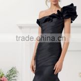 HA-015 2016 Sexy Trumpet One Shoulder Flower Ruched Stain Celebrate Dress A-Line Ruched Beaded Prom Quinceanera Dress