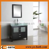 36 inch Thailand oak wood chinese bathroom vanity cabinet with glass countertop
