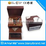 Classical 7 in 1 gift set including tie,watch,wallet,key chain,pen,tie clip in wooden gift box