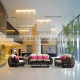 Luxury modern wicker material indoor furniture used hotel lobby sofa furniture rattan