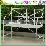 Nice Elegant Antique White Decorative Iron Cast Iron Bench For Garden Backyard I21 TS05 X11B PL08-8670
