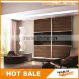 MFC and tempered painting glass with aluminum frame inserted sliding door wardrobe/closet