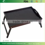 Lacquered Black Bamboo Bed Tray , Breakfast Desk with foldable legs