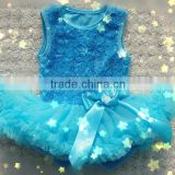 Baby girl dress for birthday party Rosette dress with wholesale price for 0-3 years girl in china