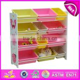 2015 New wooden toy organizer for kids with 12 bins, popular colorful storage box and hot sale storage box W08C034