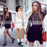 2014 Mesh Stitching Long Sleeve Lace Round Neck High Street Dress Irregular Little Black Evening Wedding Dress