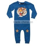 Wholesale china clothes prompt delivery blue colour cotton animal onesie tiger's head print romper