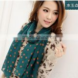 best selling cheap lady girls porka dots print silk chiffon scarf