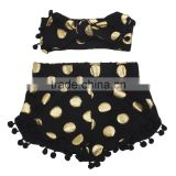 Wholesale children pompom shorts print with gold dot matching headband