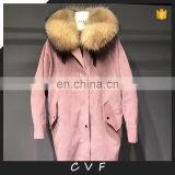 2017 new fashion corduroy real raccoon fox fur parka jackets wholesale
