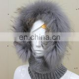 Large Fur Hood Knitted Cap Scarf Multipurpose Knit Hat Real Raccoon Fur Trim Knitting Earmuff Hat