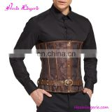 Custom Brown 10 Steel Boned Lace Male Waist Corset Boning Tops To Wear Out