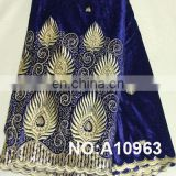 Beautiful Royal Blue Lace Fabric Embroidered Africa George Velvet Fabric George