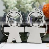 PROMOTION RHINESTONE STAINLESS METAL BOY GIRL MATCHING KEYCHAIN
