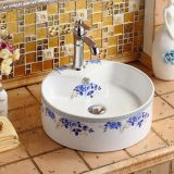 Tabletop bathroom ceramic round shape basin with new blue color design wash hand sink