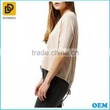 Wholesale fashion pink oversized drawstring top ladies loose fit t shirt women latest clothing