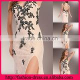Fashional V-line Neckline and Spheghate Straps with Beaded Appliques Shealth Over Lace Elegant Light pink Evening Dresses