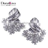 Bargain Hot Product Flower Snowflake Shape Cubic Zircona Stones Brass Stud Earrings