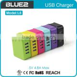 UL FCC CE CB certificates 4 port multiple usb wall charger 5V 4.8A