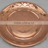 stainless steel Round Copper Plated dish plate dinner plate