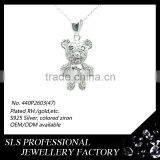 Kids jewelry pendant silver jewelry bear pendant for Children gift's CZ micro cremation jewelry pendant