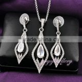 New model jewelry gold drop pendant big stone american diamond necklace sets