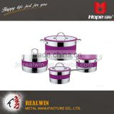 8pcs stainless steel cookware mirror polish inside and outside cookware , portable food steamer